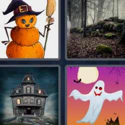 4 fotos 1 palabra 9 letras fantasma calabaza
