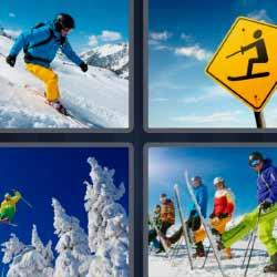4 fotos 1 palabra nieve esquiadores