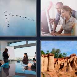 4 fotos 1 palabra 9 letras bandada de pájaros oficina