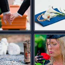 4 fotos 1 palabra ataúd mujer de luto