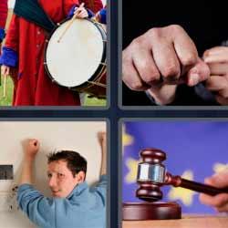 4 fotos 1 palabra 9 letras martillo de juez