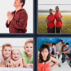 4 fotos 1 palabra hombre rezando