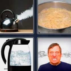 4 fotos 1 palabra tetera o cafetera echando vapor