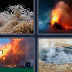4 fotos 1 palabra volcán incendio agua