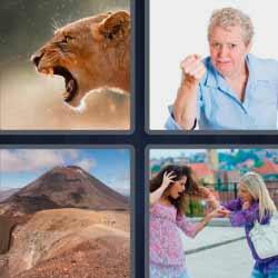 4 fotos 1 palabra leona boca abierta
