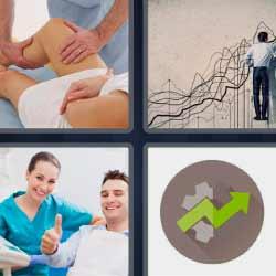 4 fotos 1 palabra flecha ascendente verde