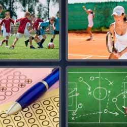 4 fotos 1 palabra niños jugando al fútbol