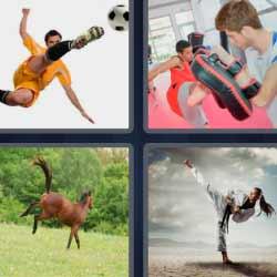 4 fotos 1 palabra futbolista pateando