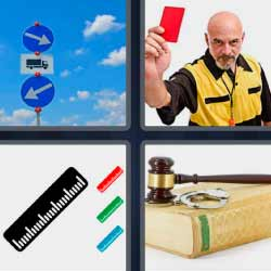 4 fotos 1 palabra tarjeta roja