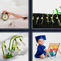 4 fotos 1 palabra reloj despertador