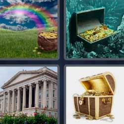 4 fotos 1 palabra monedas de oro