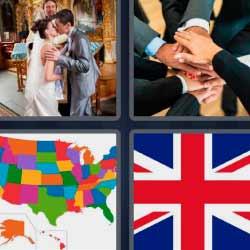 4 fotos 1 palabra bandera Reino Unido