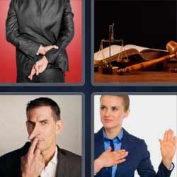 4 fotos 1 palabra cruzar dedos nariz larga