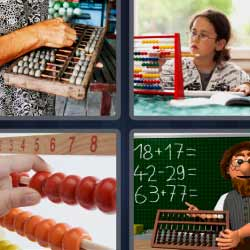 4 fotos 1 palabra pizarra con sumas y restas