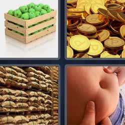 4 fotos 1 palabra monedas doradas caja de manzanas