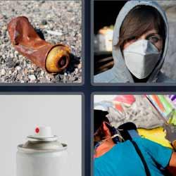 4 fotos 1 palabra mascarilla spray