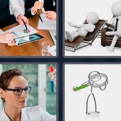 4 fotos 1 palabra gráficos lupa