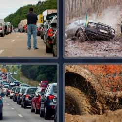 4 fotos 1 palabra atasco ruedas en el barro