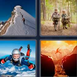 4 fotos 1 palabra montaña salto