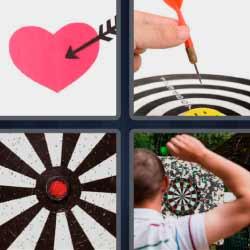 4 fotos 1 palabra corazón con flecha diana