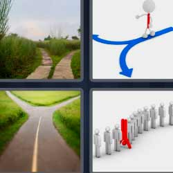 4 fotos 1 palabra flechas azules carretera