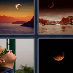 4 fotos 1 palabra luna al anochecer