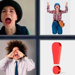 4 fotos 1 palabra signo de exclamación
