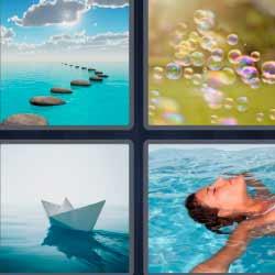 4 fotos 1 palabra barco de papel