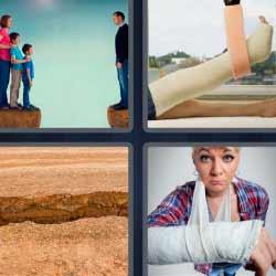 4 fotos 1 palabra grieta brazo escayolado