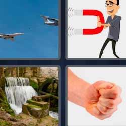 4 fotos 1 palabra aviones imán puño