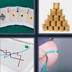 4 fotos 1 palabra monedas cartas embarazada