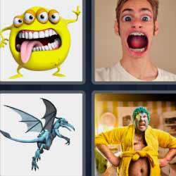 4 fotos 1 palabra monstruo amarillo