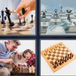 4 fotos 1 palabra fichas de ajedrez tablero