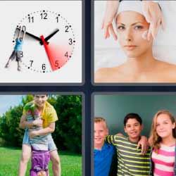 4 fotos 1 palabra hombre colgado en aguja reloj