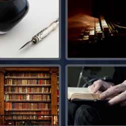 4 fotos 1 palabra pluma librería
