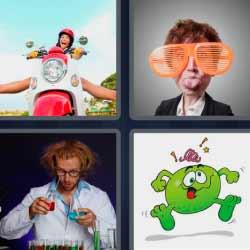 4 fotos 1 palabra lentes grandes