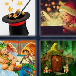 4 fotos 1 palabra niño gorro Santa Claus