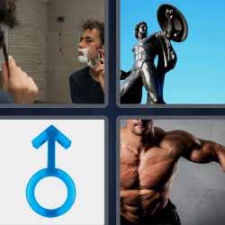 4 fotos 1 palabra hombres afeitándose