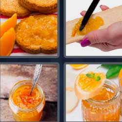 4 fotos 1 palabra mermelada naranja