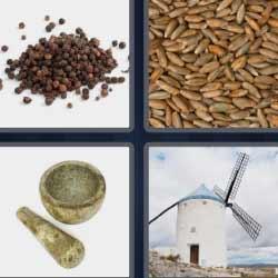 4 fotos 1 palabra mortero granos semillas