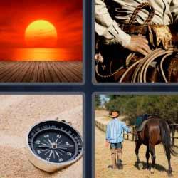 4 fotos 1 palabra atardecer brújula
