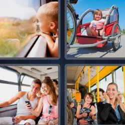 4 fotos 1 palabra viajeros autobús