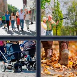 4 fotos 1 palabra gente caminando carritos