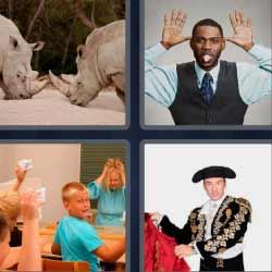4 fotos 1 palabra rinocerontes torero