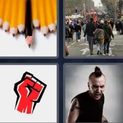 4 fotos 1 palabra puño rojo