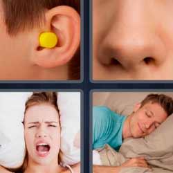 4 fotos 1 palabra tapón en la oreja