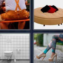 4 fotos 1 palabra pantalón con tirantes