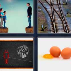 4 fotos 1 palabra vías tren huevos