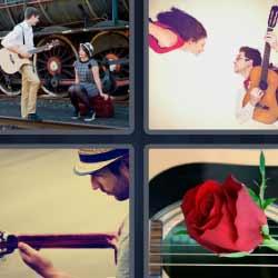 4 fotos 1 palabra tocando guitarra rosa