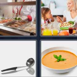 4 fotos 1 palabra cucharón plato de comida